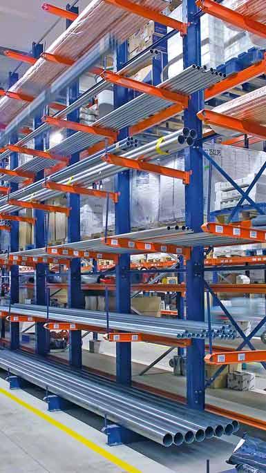 Příklad skladování trubkového zboží v regálech