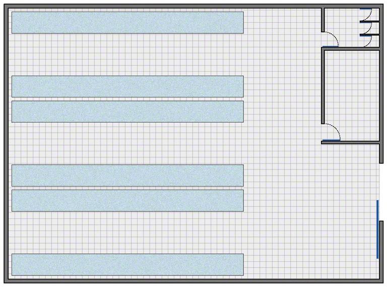 Návrh jednoduchého skladu, který se skládá ze: skladovací zóny, kanceláří a sociálního zázemí.