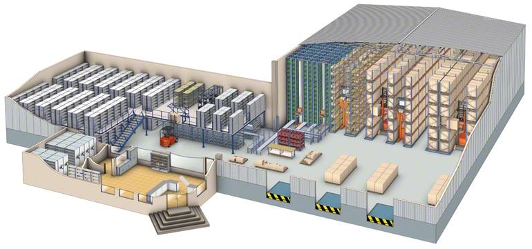 Znázornění skladu rozděleného na sektory v souladu s pracovní procedurou a druhem skladovaného výrobku.