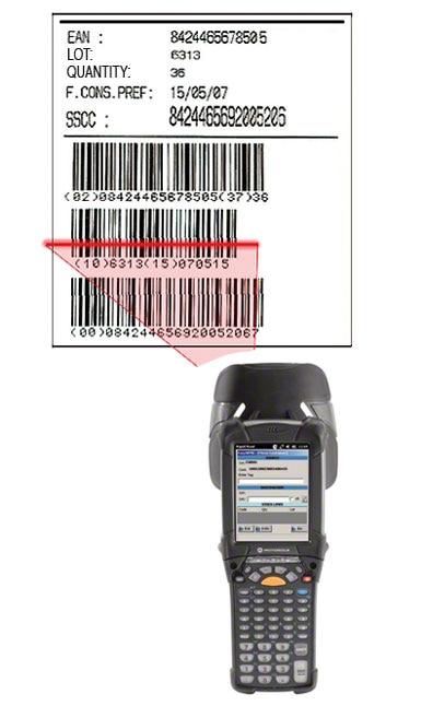 Příklad etikety s čárovým kódem EAN-128, pomocí které je identifikována paleta, zboží, které je na ní umístěno, a také jeho vlastnosti.