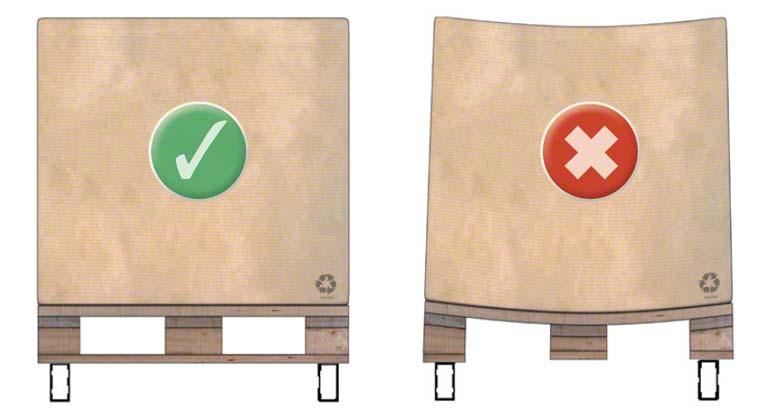 Způsob, jakým je třeba skladovat dřevěnou paletu typu 1 na příčkách regálů.