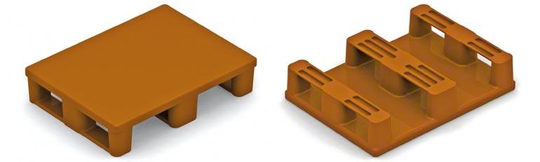 Toto je plastová půlpaleta. Je třeba dodržovat stejná bezpečnostní opatření, jako v případě dřevěných půlpalet a věnovat pozornost odolnosti spodních nožiček.
