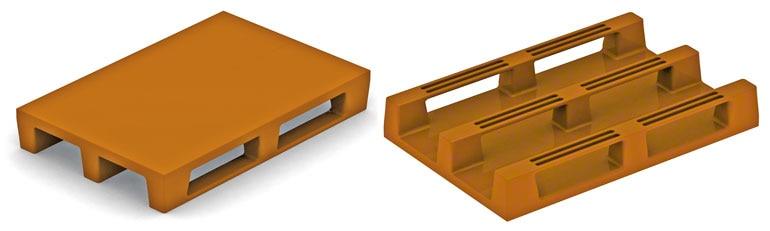 Konstrukční systém těchto plastových palet je stejný jako v případě dřevěných euro palet. Neměly by působit žádné potíže, jedině že by neměly dostatečnou odolnost.