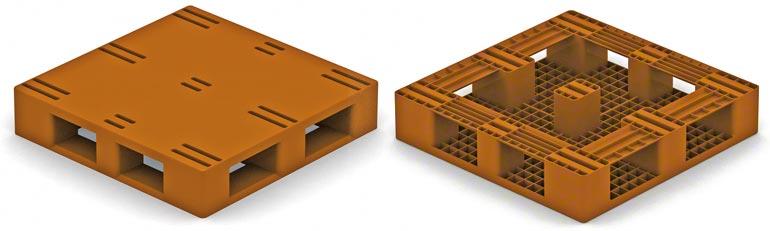 Tento model plastové palety je velmi podobný typu 2 dřevěné palety, přičemž nožičky jsou umístěny na okrajích. Je třeba zohlednit omezení, která se týkají typu 2 dřevěné palety.