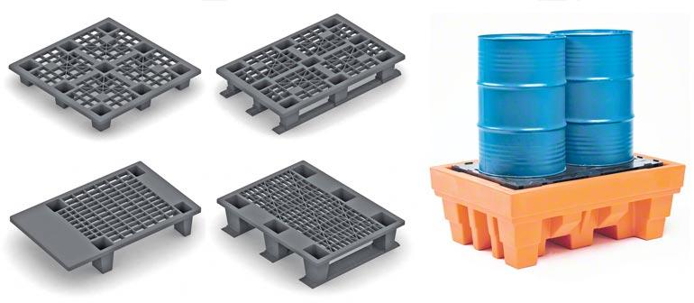 Příklady různých modelů plastových palet. Ilustrace díky laskavosti společnosti Disset