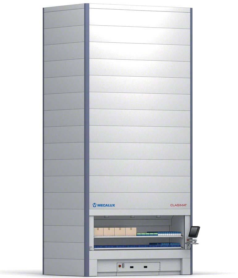 """Automatický vertikální sklad – příklad systému """"zboží k operátorovi""""."""