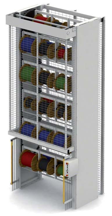 Vertikální karuselové sklady je možné přizpůsobit ke skladování velmi různorodého zboží. Na přiložené ilustraci je zobrazen karuselový sklad cívek