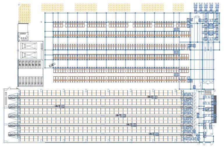 Příklad rozmístění kompletačních stanovišť v automatickém skladu