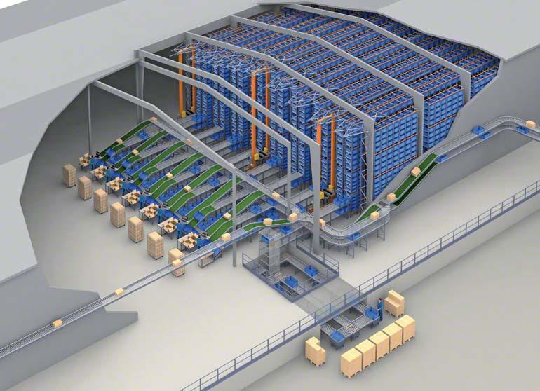 Příklad automatického skladu s kontejnerovými zakladači s velmi vysokou účinností