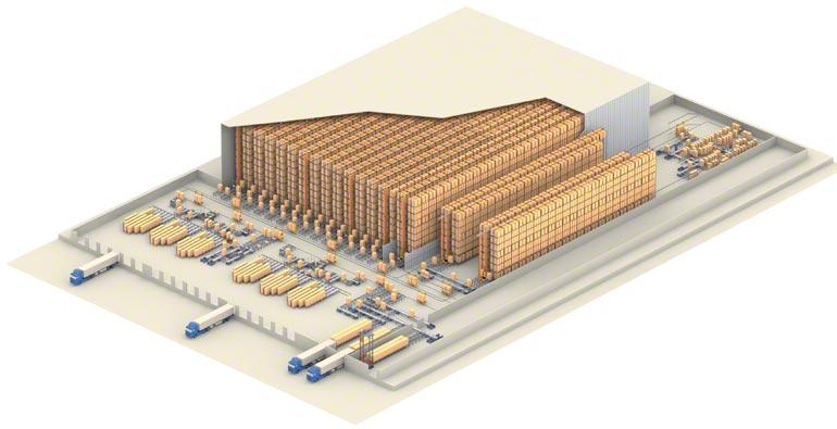 Ilustrace znázorňující centrální sklad