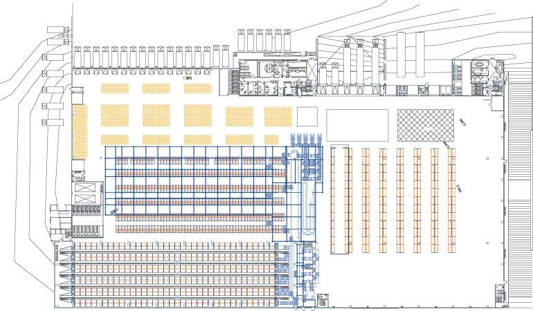 Schéma znázorňující různé zóny v centrálním skladu.