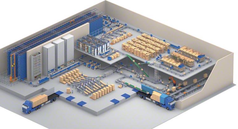 Návrh skladu se skladovací zónou rozdělenou na více částí